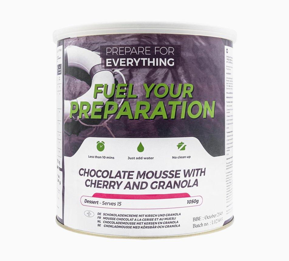 Čokoládová pěna s granolou a třešní