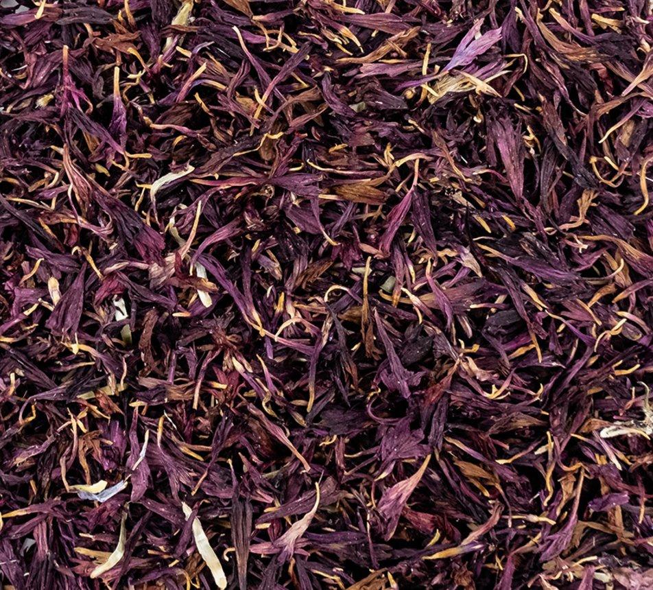 Jedlé fialové květy chrpy