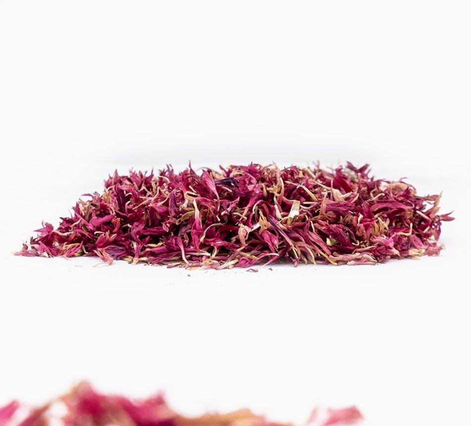 Jedlé růžové květy chrpy
